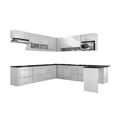 Armário de Cozinha Modulada Platina 14 peças - Branco