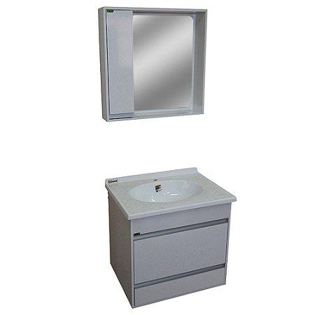 Gabinete para Banheiro com Espelho Moscou - Branco