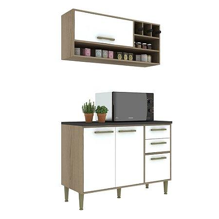 Armário de Cozinha Modulada Vitória CV011E - Avelã TX/Branco