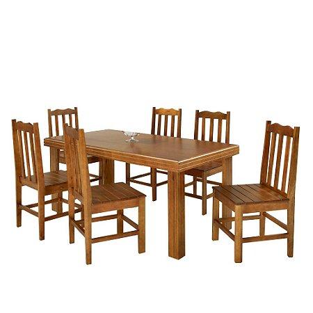 Conjunto de Mesa Madeira Maciça com 6 Cadeiras Essência - Mel