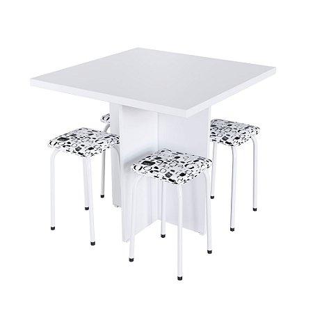 Conjunto Mesa Verona com 4 Banquetas - Antares Branco