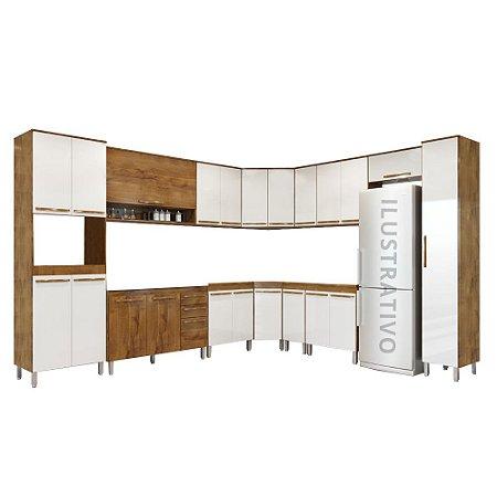 Cozinha Modulada 14 Peças Diamante - Branco/Castanho