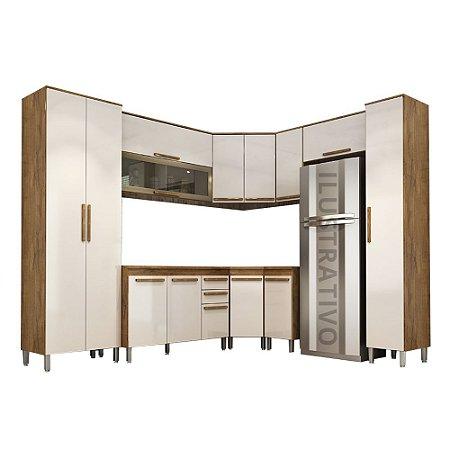 Cozinha Modulada 10 Peças Ouro - Castanho/Off-White