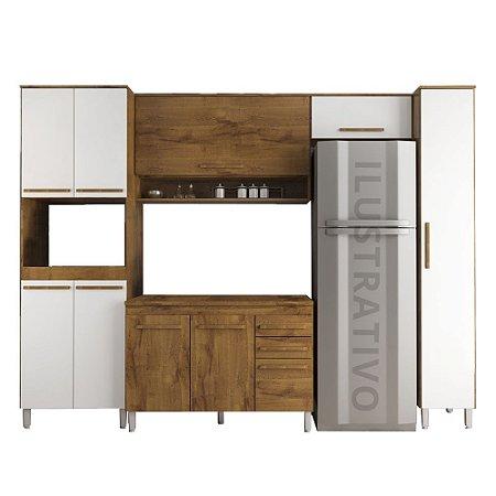 Cozinha Modulada 6 Peças Prata - Branco/Castanho