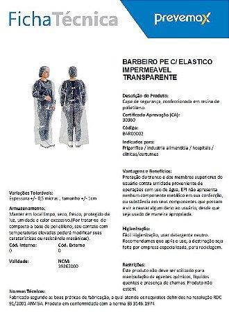 AVENTAL BARBEIRO IMPERMEÁVEL PREVEMAX COM ELÁSTICO E SEM CAPUZ