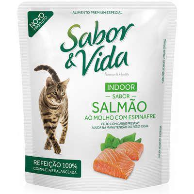 SACHÊ SABOR E VIDA GATOS INDOOR SALMÃO AO MOLHO COM ESPINAFRE 85G