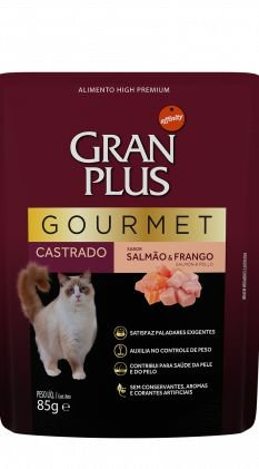 SACHÊ GRAN PLUS GATOS CASTRADOS GOURMET SALMÃO E FRANGO 85G