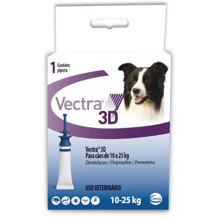 VECTRA 3D CÃES 10 A 25 KG - 1 PIPETA