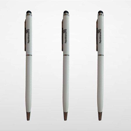 Caneta De Alumínio Com Ponteira Touch - Branca