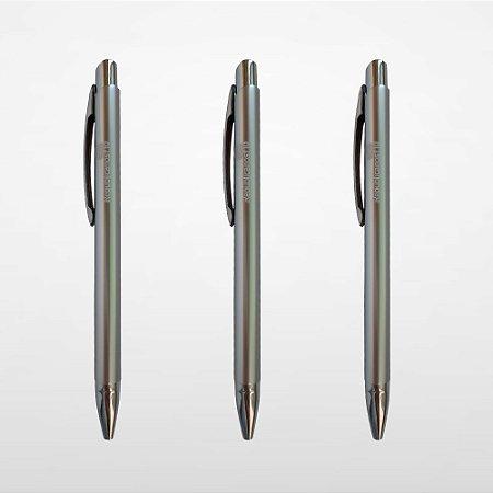 Caneta De Alumínio Esferográfica - Prata