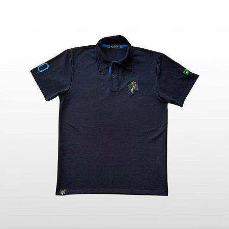 Camiseta Masculina Polo Azul Marinho Com Bordado