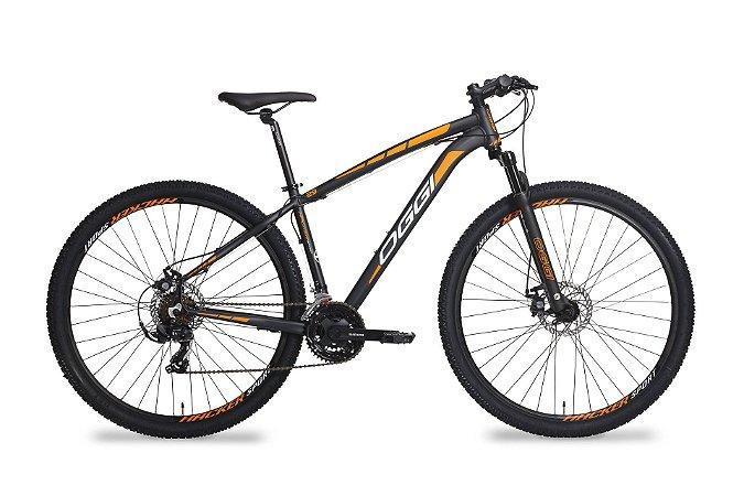Bicicleta Aro 29 OGGI Hacker Sport 2019 21V Preto/Laranja