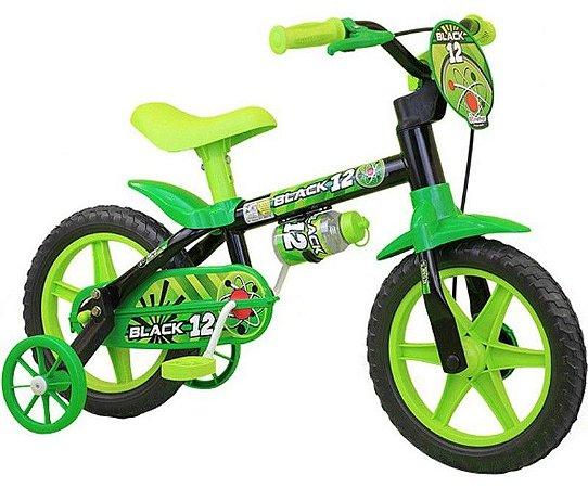 Bicicleta Aro 12 Nathor Preto/Verde