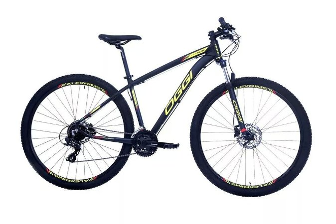 Bicicleta Aro 29 OGGI Hacker Hds 2019 24V Preto/Amarelo