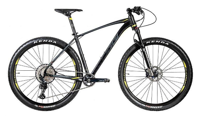 Bicicleta Aro 29 Oggi Big Wheel 7.4 SLX 12 Vel. Preto/Amarelo/Grafite Lançamento 2020