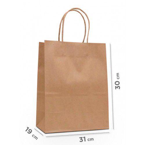 Sacola papel kraft para delivery - 30 x 31 x 19 cm - 50 unidades