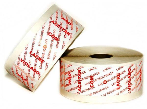 Lacre Selo de segurança para embalagens - Adesivo com picotes - Rolo c/ 500 lacres