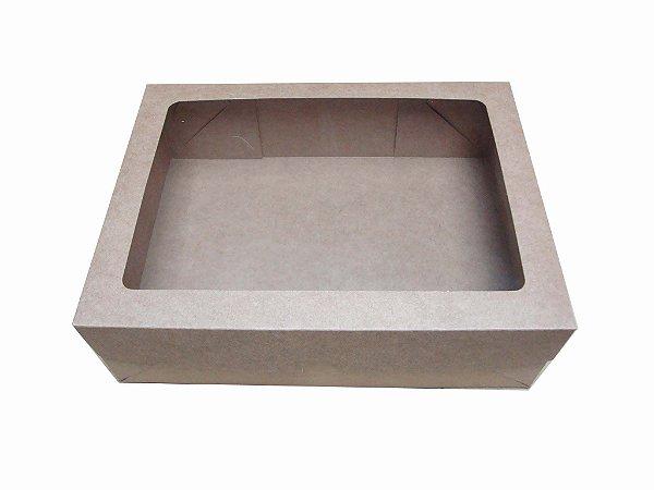 caixa kraft com visor para doces Vila com 10 unidades  24,1 x 18,4 x 7  cm
