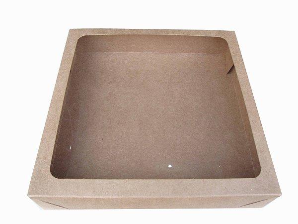 caixa kraft com visor para doces Tambaú kraft c/10 un - 21,3 x 21,3 x 4