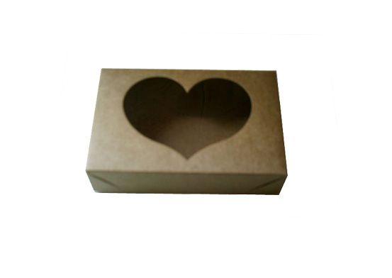 caixa kraft com visor para doces Boracéia c/ 10 un - 13 x 8,5 x 3 cm