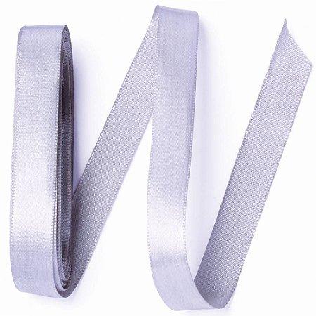Fita de cetim liso prata 6,5 mm x 10 m com 01 unidades