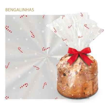 Saco transparente natal bengala 15 x 22 cm  - 100 unidades paneto 100 gr