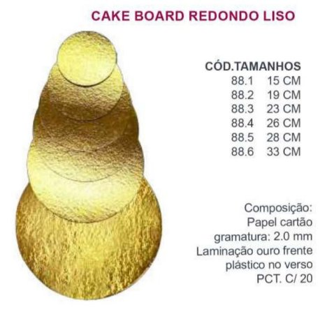 Cake Board Redondo Liso dourado 23 cm 05 unidades