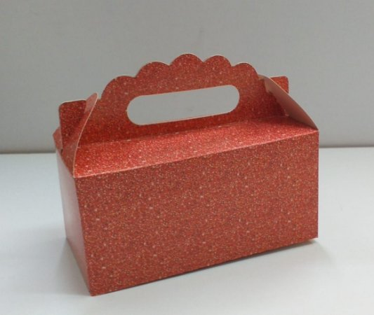 Caixa Maleta P gliter vermelha natal 16x8x8 cm - 05 unidades