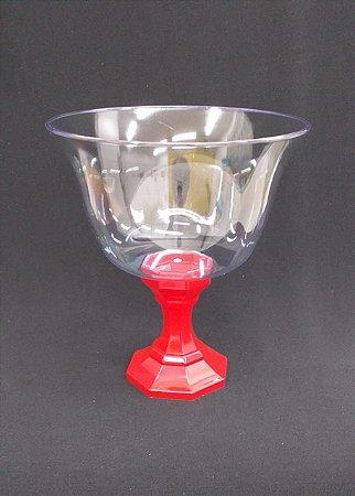 Taça acrilica para sobremesa pé vermelho - 1250 ml