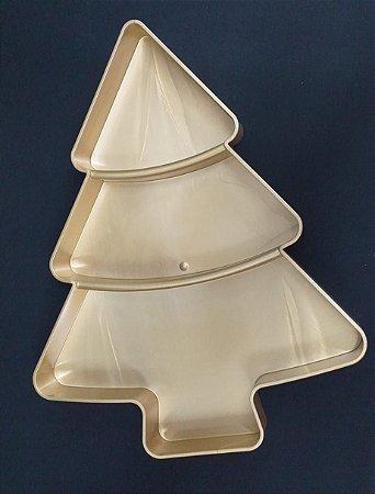 Pestiqueira de Natal formato pinheiro cor dourada -  22x8,5 cm