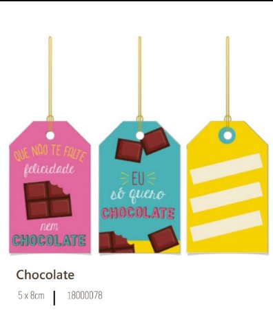 Tag de pascoa Chocolate 5x8 cm  - 12 unidades