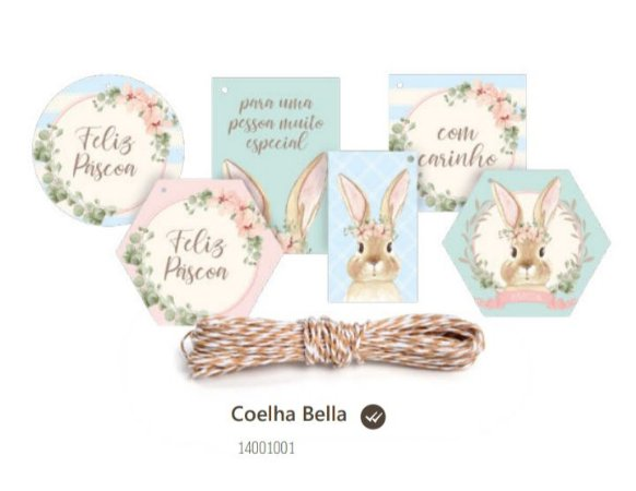 Tag coelho pascoa Bella 13 tagas + cordão