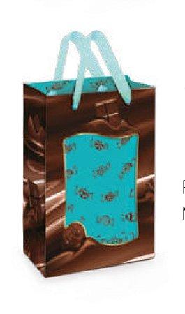 Sacola papel para pascoa com visor - |Chocolate - 11,5 x 18 cm - 10 unidades
