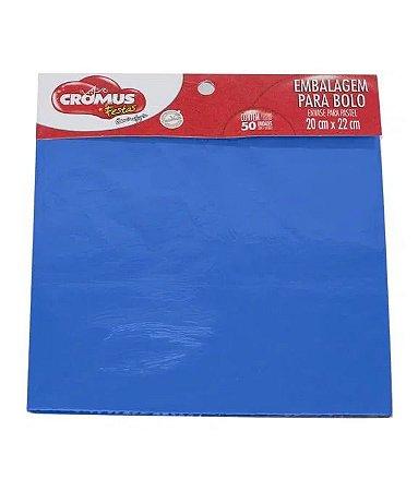Embalagem laminada para bolo cor azul 20x22 50 unidades