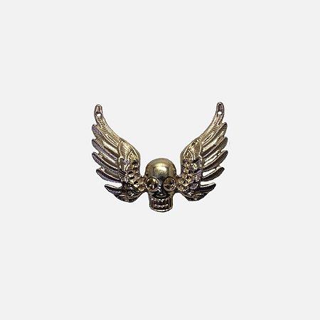 Aplicação metálica skull with wings 12-288