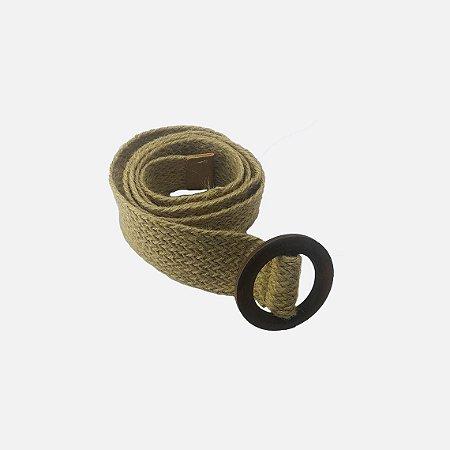 Cinto trançado fivela de madeira redonda (C114)