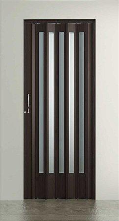 Porta Sanfonada Translucida  Wengue com Trinco - BCF Plasticos - Esquadriplast