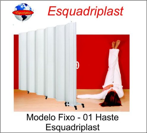 Biombo Sanfonado Fixo Largura 3,04 x 1,85 Altura 01 Haste cor Branco