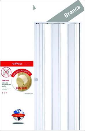 Porta Sanfonada PVC Araforros 1,68 x 2,10 cor Branca - maçaneta Easy lock