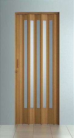 Porta Sanfonada Translucida  Cerejeira com Trinco - BCF Plasticos - Esquadriplast