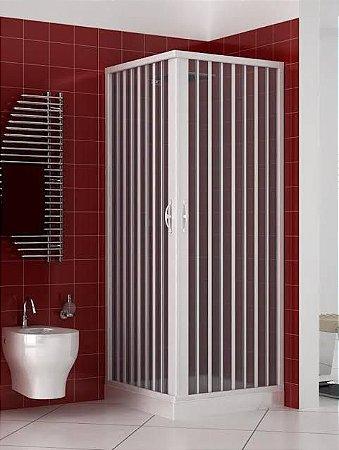 Box Sanfonado de Canto em PVC - Largura externa até  0,85 x 0,85 x 1,85 Altura cor Branco - BCF - Esquadriplast