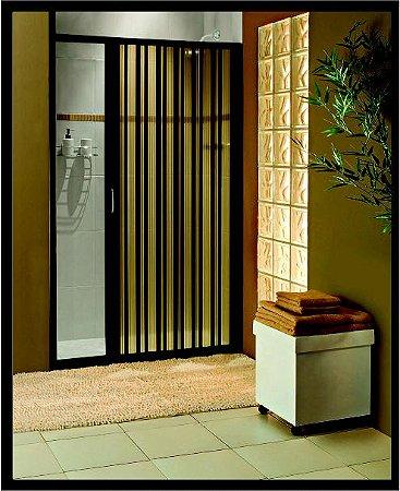Box sanfonado para Banheiro largura de 46 cm até 55 cm x 1,85 altura Cor Preto - Largura 0,55 x 1,85 Altura