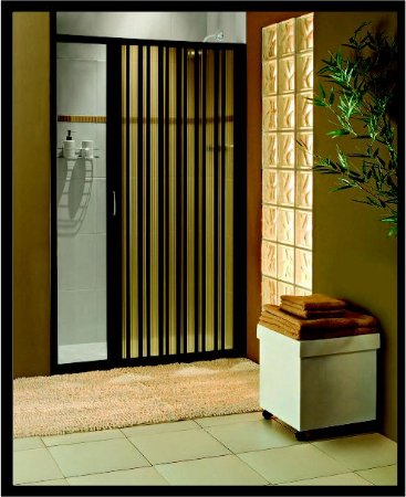 Box sanfonado para Banheiro largura de 116 cm até 130 cm x 1,85 altura Cor Preto - Largura 1,30 x 1,85 Altura