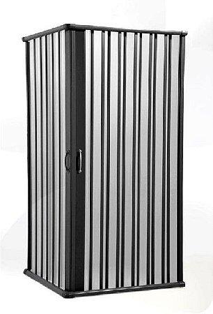 Box Sanfonado de Canto em PVC - Largura externa até  1,15 x 1,15 x 1,85 Altura cor Preto - BCF - Esquadriplast