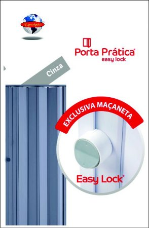 Porta Sanfonada Cinza Araforros SOB MEDIDA 1,44 x 2,10 maçaneta Easy Lock