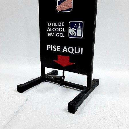 Totem Dispenser / Suporte para Álcool Gel - com Pedal - Esquadriplast - MODELO PRETO ALTURA ATÉ 1,15 MOD T5 - PTD
