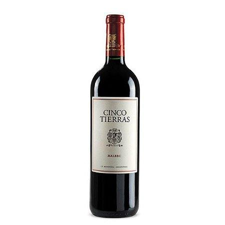 Vinho Tinto Argentino Cinco Tierras Malbec Clássico 750ml