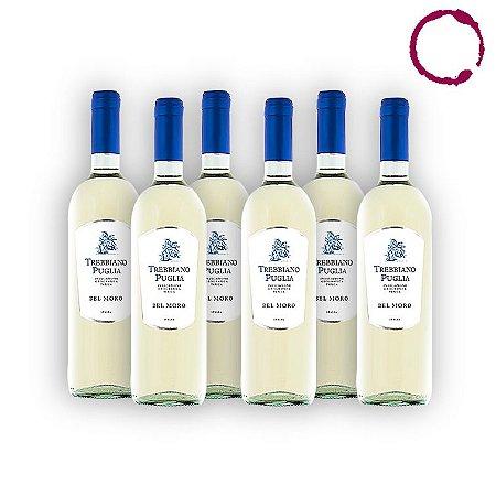 KIT 06 UNIDADES Vinho Branco Italiano Bel Moro Trebbiano Puglia IGT 750ml