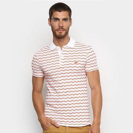 Camisa Polo Lacoste Listrada Degraus Masculina - Branco e Laranja