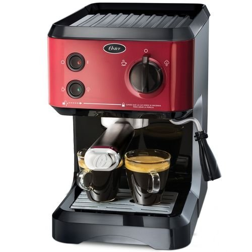 Maquina de Cafe Expresso - Cafeteira Expresso Oster Cappuccino BVSTECMP65R 1,2L 1170W - Vermelha - 220v